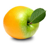 Grüner Apfel und beinahe orange Frucht Stockbild