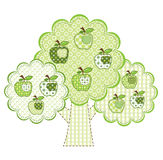 Grüner Apfelbaum des Patchworks Lizenzfreie Stockbilder