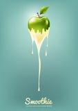 Grüner Apple-Jogurt und -Smoothie melken mit Frucht, Saftkonzept, Vektor-Illustration Lizenzfreie Stockbilder