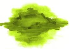 Grüner Aquarellfleck einer Farbe der schönen Form auf einem whi Stockfotos