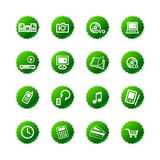 Grüner Aufkleber e-kaufen Ikonen Lizenzfreie Stockfotos
