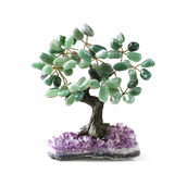 Grüner Aventurine-Geld-Baum Stockfotografie