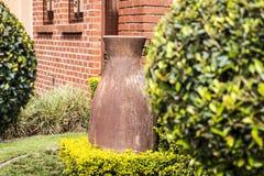 Grüner Ballbaum mit Vase im Freien Lizenzfreies Stockbild