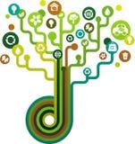 Grüner Baum mit ökologischen Ikonen Lizenzfreies Stockbild