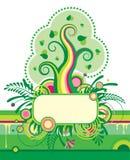 Grüner Baum und eine Blumenfahne