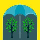 Grüner Baum zwei unter einem Regenschirm vektor abbildung