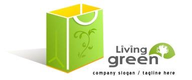 Grüner Beutel mit Symbol Stockfotografie