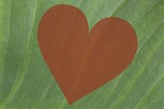 Grüner Blatthintergrund mit einem roten Herzen Stockfotografie