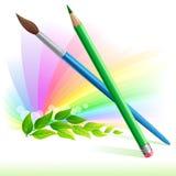 Grüner Bleistift und Pinsel - Blätter und Regenbogenfarbe Lizenzfreies Stockbild