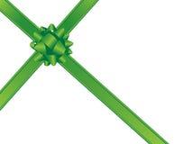 Grüner Bogen und Farbbänder stock abbildung