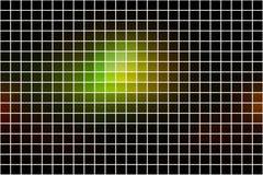Grüner brauner gelber Mosaikhintergrund des schwarzen Quadrats über Weiß Lizenzfreies Stockbild