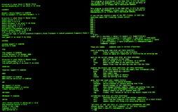 Grüner Code in der Befehlszeile Schnittstelle CLI Oberteil UNIX-heftigen Schlags stock abbildung