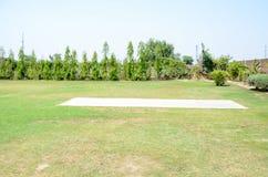 Grüner Cricketplatz Stockfotografie