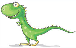 Grüner Dinosaurier der Karikatur Stockfotos