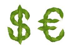 Grüner Dollar und Euro lizenzfreie stockfotos
