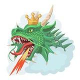 Grüner Drache mit Krone schießt Feuer Lizenzfreie Stockfotos