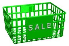 Grüner Einkaufskorb mit Wortverkauf Stockbilder