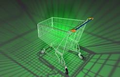 Grüner Einkaufswagen Stockfotos