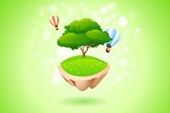 Grüner einsamer Baum auf Fliegen-Insel vektor abbildung