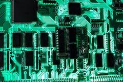Grüner elektronischer Vorstand Stockfoto