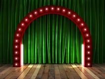 Grüner fabrick Vorhang auf Stadium Stockfotos