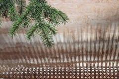 Grüner Fichtenzweig auf einem unscharfen hölzernen Hintergrund stockfoto