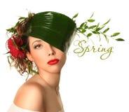 Grüner Frühling auf Weiß Stockbild