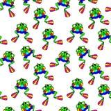 Grüner Frosch in den Flippern, die in das Meer schwimmen Lizenzfreie Stockfotos