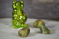 Grüner Frosch im Sand mit Steinen Stockbild