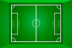 Grüner Fußballplatz oder Fußballplatz des Vektors Lizenzfreies Stockbild