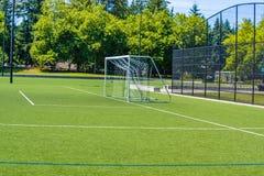 Grüner Fußballrasen Stockbild