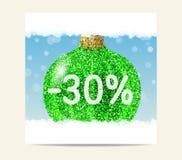 Grüner Funkelnweihnachtsball für Weihnachtsverkauf lizenzfreie abbildung
