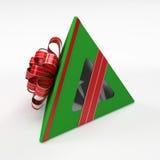 Grüner Geschenkkasten mit rotem Farbband Stockfotos