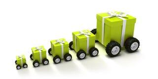Grüner Geschenkkastenkonvoi