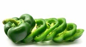 Grüner grüner Pfeffer schnitt Lizenzfreie Stockfotografie