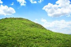 Grüner grasartiger Hügel mit blauem Himmel Stockfotografie