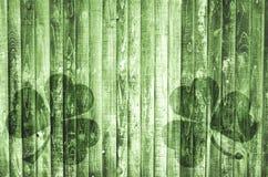 Grüner hölzerner Hintergrund Druck des Klees Stockfotos