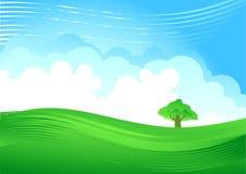 Grüner Hügel und bewölkter Himmel stock abbildung