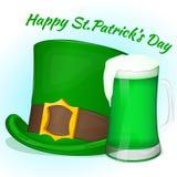 Grüner Heiliges Patricks-Tageshut mit Glas grünem Bier Hintergrund für St- Patrick` s Tag in der Karikaturart Auch im corel abgeh Lizenzfreie Stockfotos