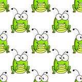 Grüner Heuschreckencharakter der Karikatur nahtlos Lizenzfreies Stockbild