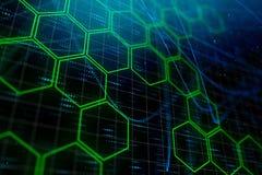 Grüner Hexagonhintergrund Digital stockfoto
