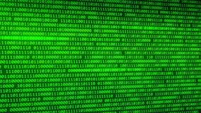 Grüner Hintergrund der binären Daten mit Schärfentiefe Programmierungshintergrund stock video