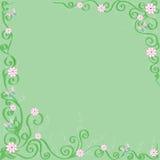 Grüner Hintergrund mit Blumen und Basisrecheneinheiten Stockfotos