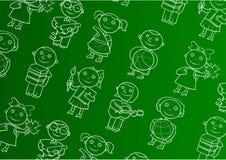 Grüner Hintergrund mit Schulkindern Stockfotografie