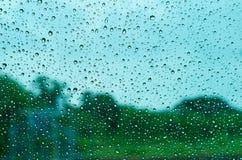Grüner Hintergrund am regnerischen Tag, Ansicht aus dem Fenster heraus Stockfoto