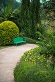 Grüner Holzstuhl im Garten Stockbilder
