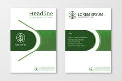 Grüner Jahresberichtgeschäftsbroschürenfliegerdesign-Schablonenvektor Stockfotos