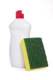 Grüner Küchenschwamm und Flasche Abwaschflüssigkeit Lizenzfreies Stockbild