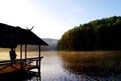 Grüner Kiefernwald mit dem Kampieren des Touristen nahe dem See mit Nebel über dem Wasser morgens, Schmerzgefühl oung Maehongson- Stockfotografie