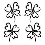 Grüner Klee mit vier Blättern Glück, Erfolgssymbol Viel Glueck Iren Luch Heiliges Patricks-Tages-Irland-Vektor-Illustrations-Hand vektor abbildung